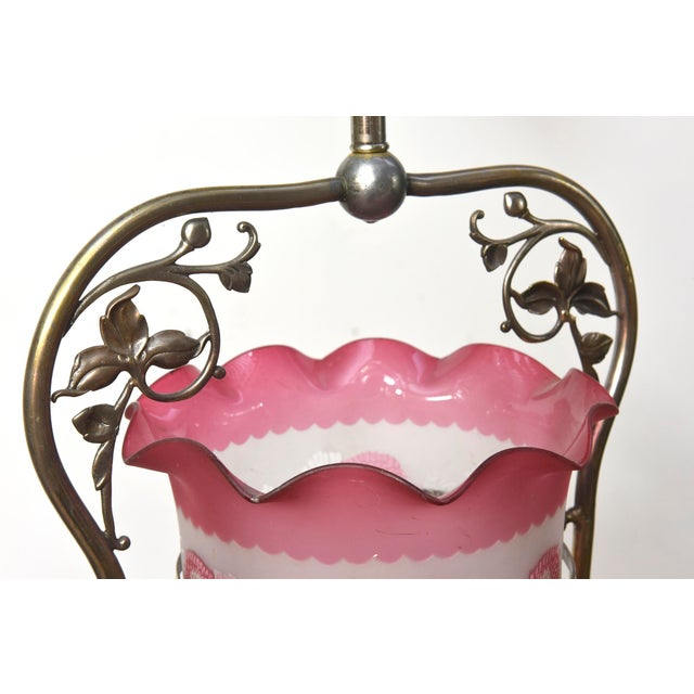 Late 19th Century Nickel Victorian Harp Lantern with Original Floral Pink Glass For Sale - Image 5 of 12