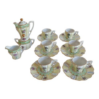 Antique Floral/Stripe Pattern French 'Limoges' Guilded Tea Service for Six For Sale