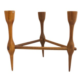 Vintage Mid-Century Danish Teak Candle Holder for 3 Candles For Sale