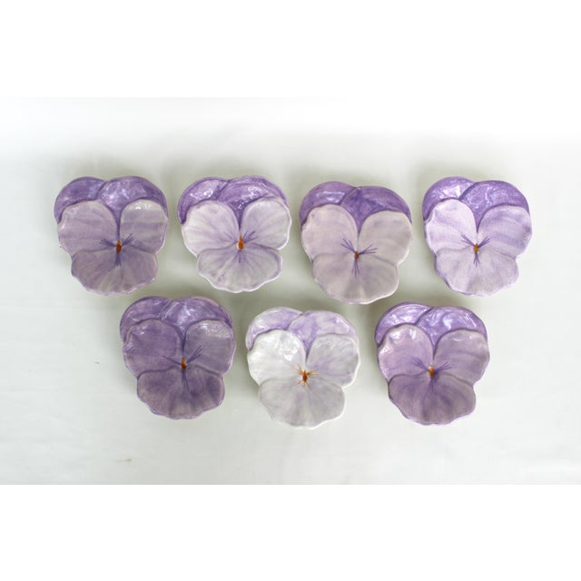 """Fabulous and Rare Pansy Plates by Ernestine Cannon. Salerno, Italy, 1950s. Mint Condition, no chips. 6.5""""W x 7""""H"""