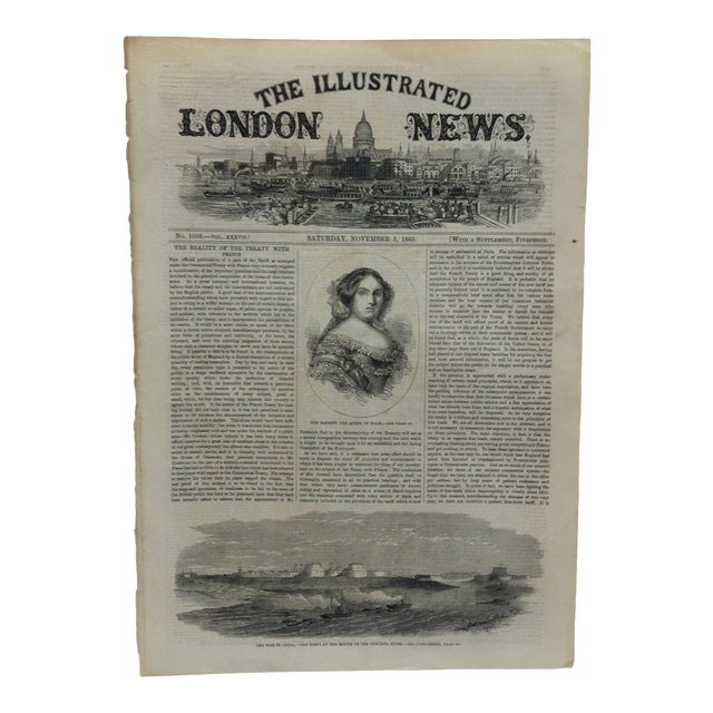 """1860 Antique Illustrated London News """"The War in China: The Forts at the Mouth of the Pehtang River"""" Print For Sale"""