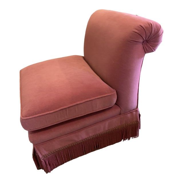 1960s Vintage Orchid-Colored Mohair Slipper Chair With Fringe For Sale