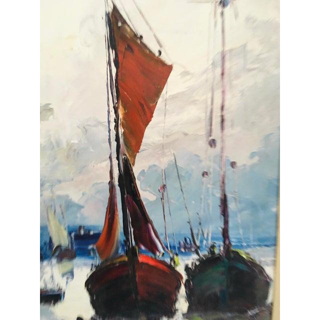 Canvas Mid Century Impressionist Oil on Canvas Harbor Scene For Sale - Image 7 of 12