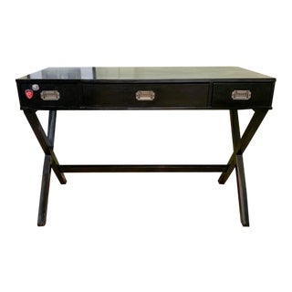 Modern X Base Black Campaign Desk For Sale