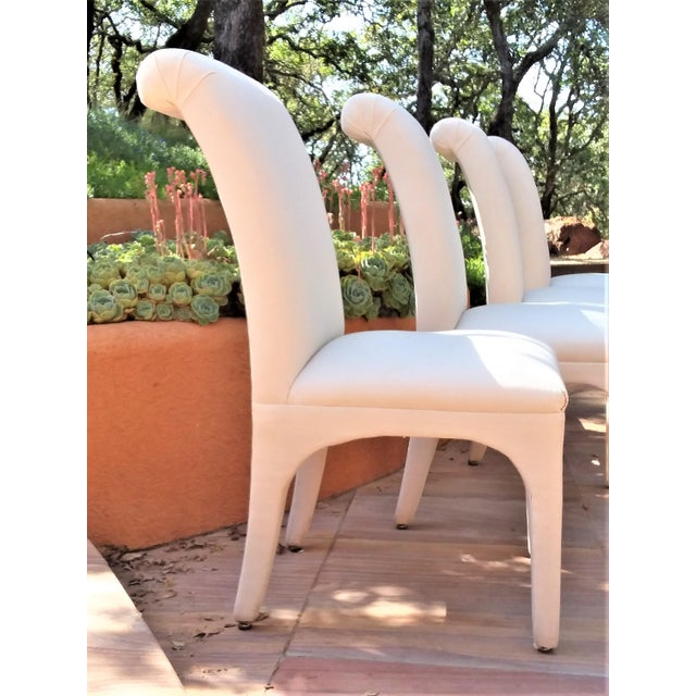 Contemporary 1980s Vintage Upholstered Parsons Chairs - Set of 8 For Sale - Image 3 of 13
