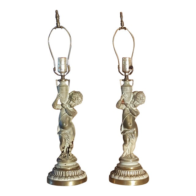 19th C French Patinated Bronze Cherub Lamps - Pair - Image 1 of 7