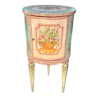 Antique French Painted Cylindrical Side Table For Sale