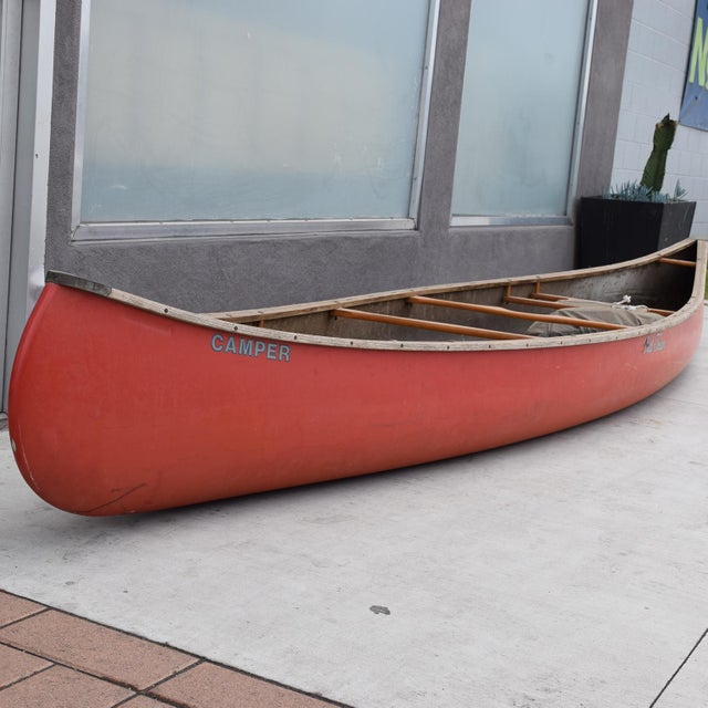 Metal Mid-Century Modern Old Town Red Canoe Kayak For Sale - Image 7 of 8