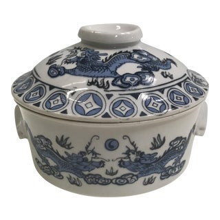 Blue & White Dragon Vessel With Lid For Sale