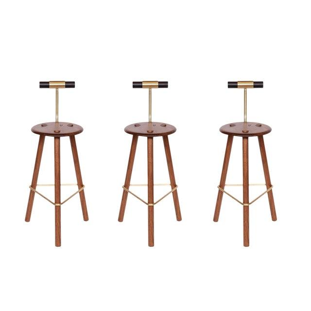 Customizable Erickson Aesthetics Set of Three Walnut Stools For Sale