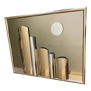 Cityscape Chrome and Brass Mirror For Sale