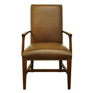 Bernhardt Furniture Cherry Traditional Studded Leather Dining Arm Chair For Sale