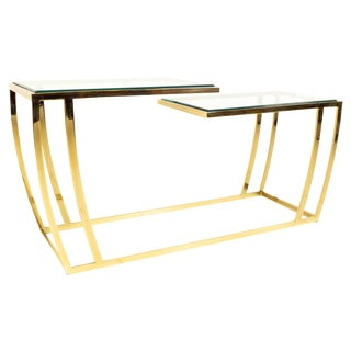 Mid-Century Modern Leon Rosen for Pace Brass & Glass Bi-Level Console For Sale