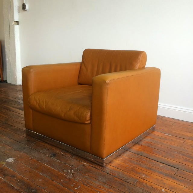 John Geiger Camel-Colored Leather Club Chair - Image 2 of 8
