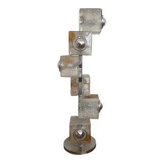 Mazzega Murano Glass Chrome Floor Lamp For Sale