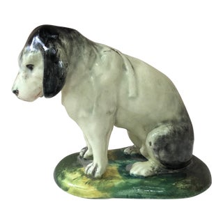 Late 19th Century Antique Jerome Massier Fils Majolica Dog Figurine For Sale