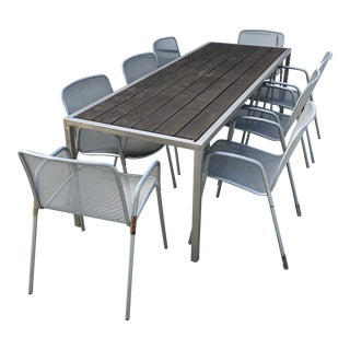 Room and Board Outdoor Table & Chairs- 9 Pieces For Sale