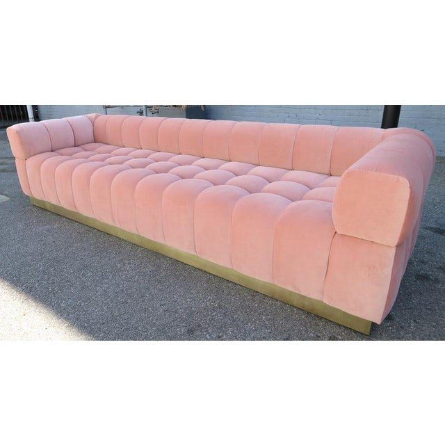 Gold Custom Tufted Pink Velvet Sofa With Brass Base For Sale - Image 8 of 9