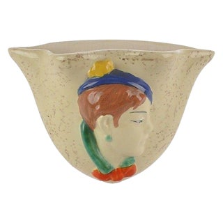 Czech Hand-Painted Girl Wall Pocket Vase