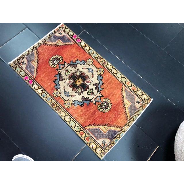 Vintage Boho Turkish Anatolian Handmade Multicolor Small Rug For Sale - Image 4 of 6