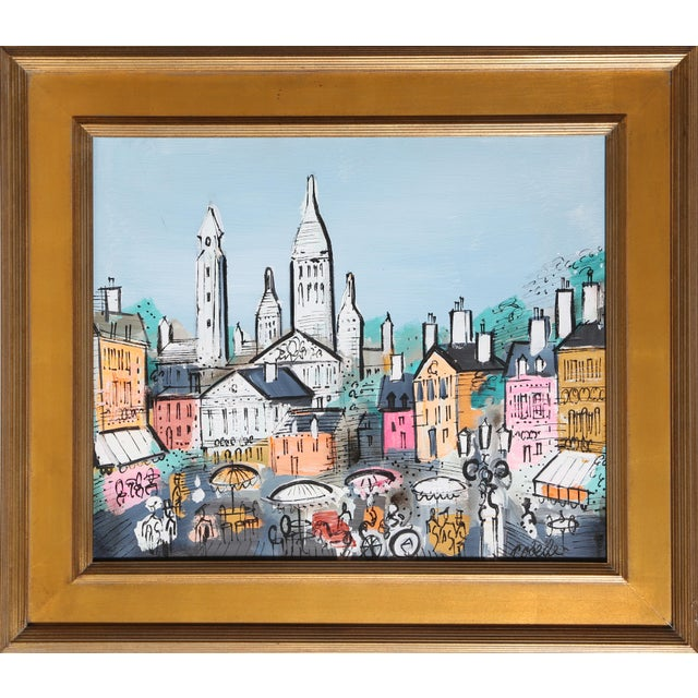 Charles Cobelle Charles Cobelle - View of Paris 18 Framed Acrylic on Canvas For Sale - Image 4 of 4
