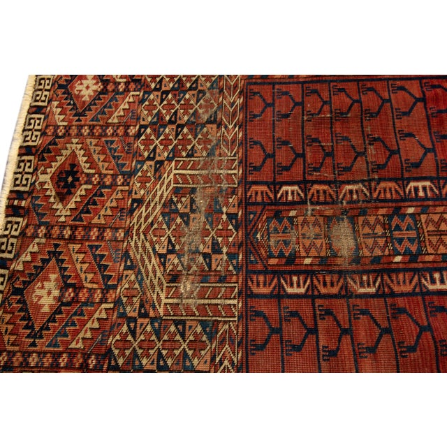 """Textile Distressed Antique Turkaman Rug, 4'2"""" X 5' For Sale - Image 7 of 8"""