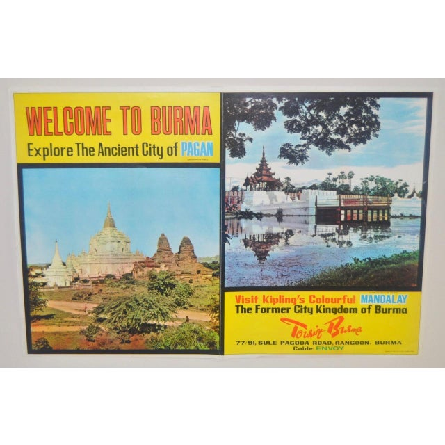 Awesome full color BURMA travel poster c.1960. This poster still has vibrant color after 50+ years. The poster features...