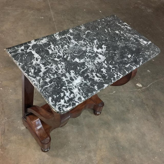 Early 19th Century 19th Century French Louis Philippe Mahogany Marble-Top Console For Sale - Image 5 of 11