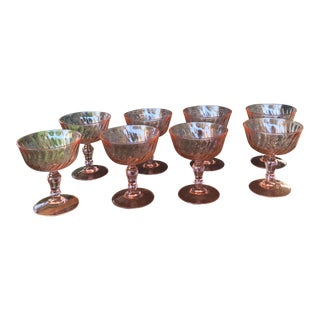 1900s Mid-Century Modern Pink Wine Glasses - Set of 8