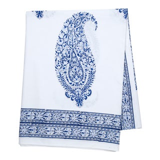 Malabar Large Paisley Tablecloth, 8-seat table - Deep Blue For Sale