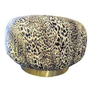 Oversized Karl Springer Marge Carson Style Soufflé Plinth Pouf Huge Round Leopard Ottoman For Sale