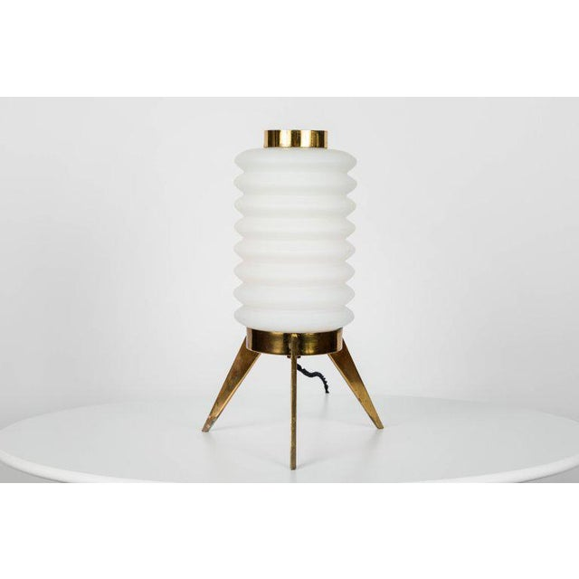 High end 1950s angelo lelli glass and brass tripod table lamp for italian 1950s angelo lelli glass and brass tripod table lamp for arredoluce for sale image aloadofball Image collections