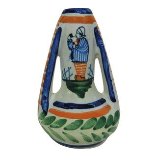 1930s Vintage French Faience Breton Vase For Sale
