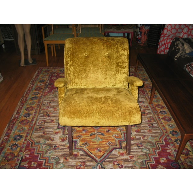 MCM 60s Chartruese Velour Chair - Image 2 of 8