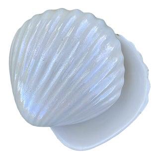 Semi Iridescent Clamshell Trinket Box Ring Dish For Sale