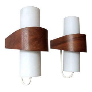 Opaque Glass Cylinder Teak Wrapped Philips Wall Lights Nx40 For Sale