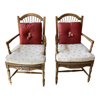 Vintage Country French Rush Seat Armchairs by Trouvailles- a Pair For Sale