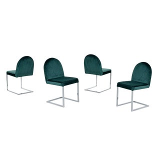1970s Forest Green Velvet Milo Baughman Style Cantilever Chrome Dining Chairs For Sale