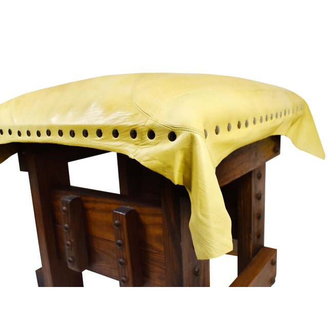 Handmade Wood Leather Footrest Stool Ottoman For Sale - Image 6 of 11