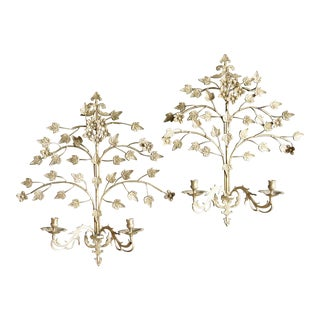 Oversized Brass Foliated Candle Sconces, a Pair For Sale