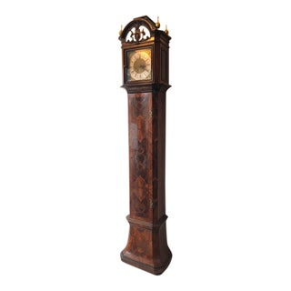 European Walnut & Marquetry Brass Face 8 Day Tall Grandfather Clock For Sale