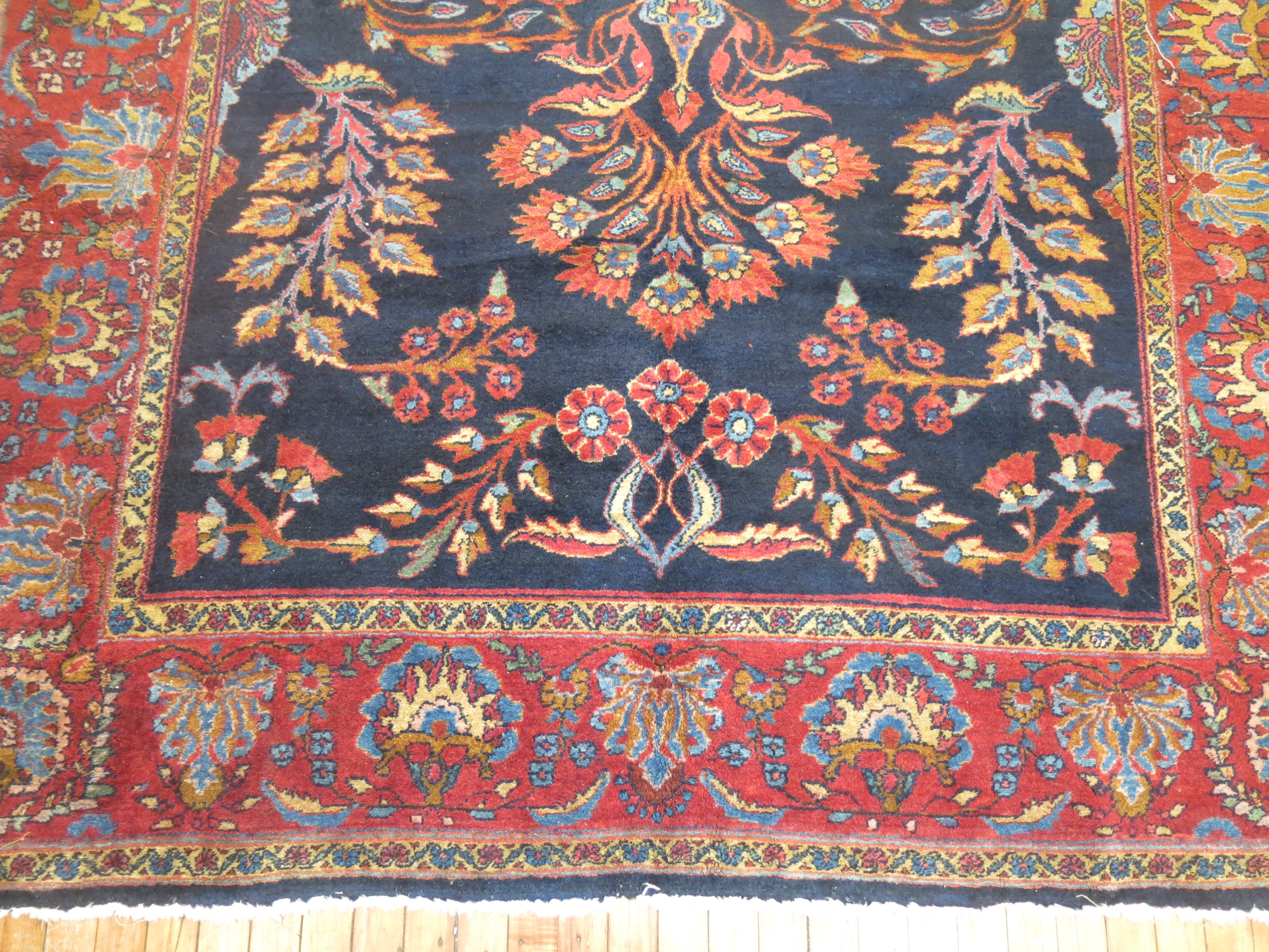 Early 20th Century Navy Blue Persian Rug 6 9 X 9 6 Chairish
