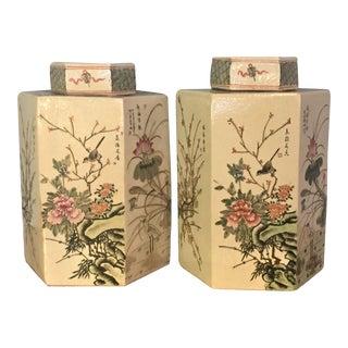 Chinese Porcelain Lidded Hexagonal Jars - A Pair