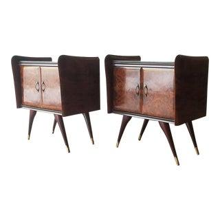 Mid-Century Modern Italian Burl Walnut Nightstands - a Pair For Sale