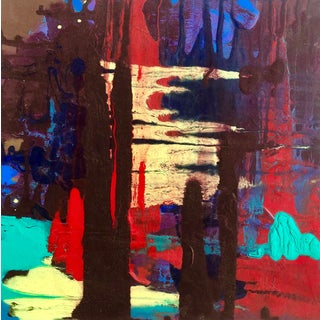Abstract Painting on Panel by Mirtha Moreno For Sale