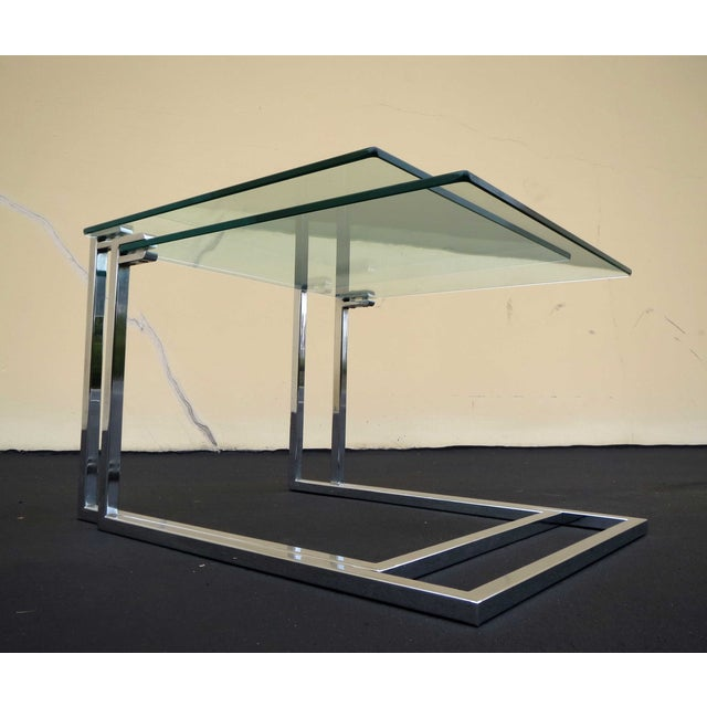 Vintage Modern Glass Chrome Nesting Tables - Pair - Image 5 of 5