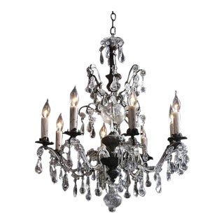 French Eight Arm Beaded and Crystal Chandelier For Sale