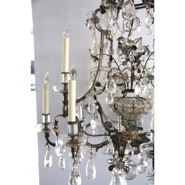 Metal Louis XV Rock Crystal Chandelier by Maison Baguès Lighting in Paris For Sale - Image 7 of 10