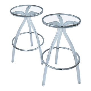 1970s Karl Springer Style Bar Stools-Pair For Sale
