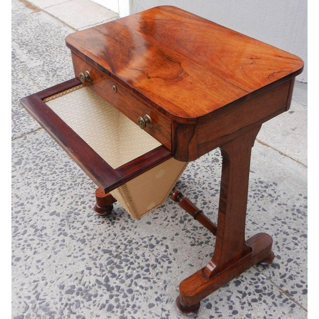 19th Century Antique English Rosewood Regency Basket Sewing Table For Sale - Image 4 of 11
